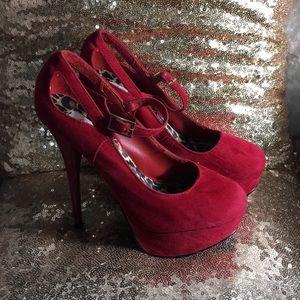 Red faux sueded velvet platforms heels